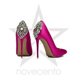 Roze salonske cipele u satenu sa ukrasnim cirkonima